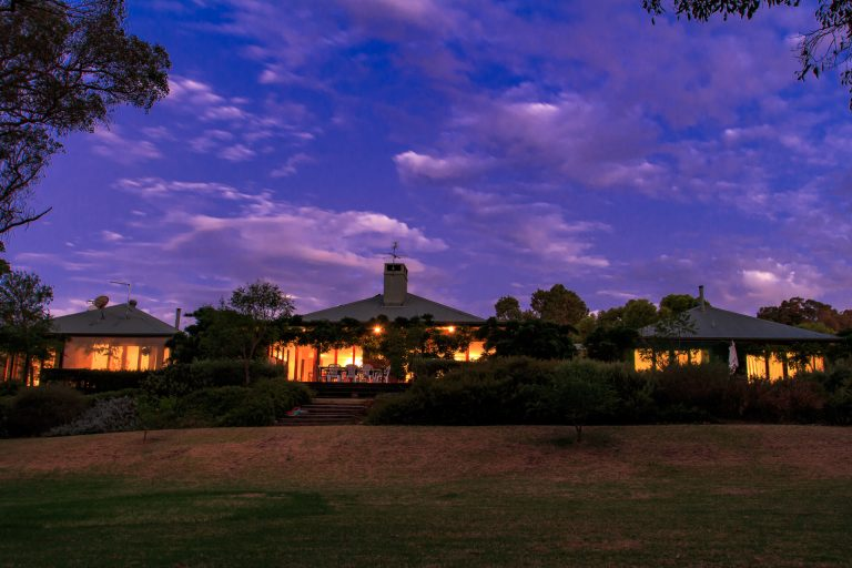henty lodge house at dusk in ferguson valley